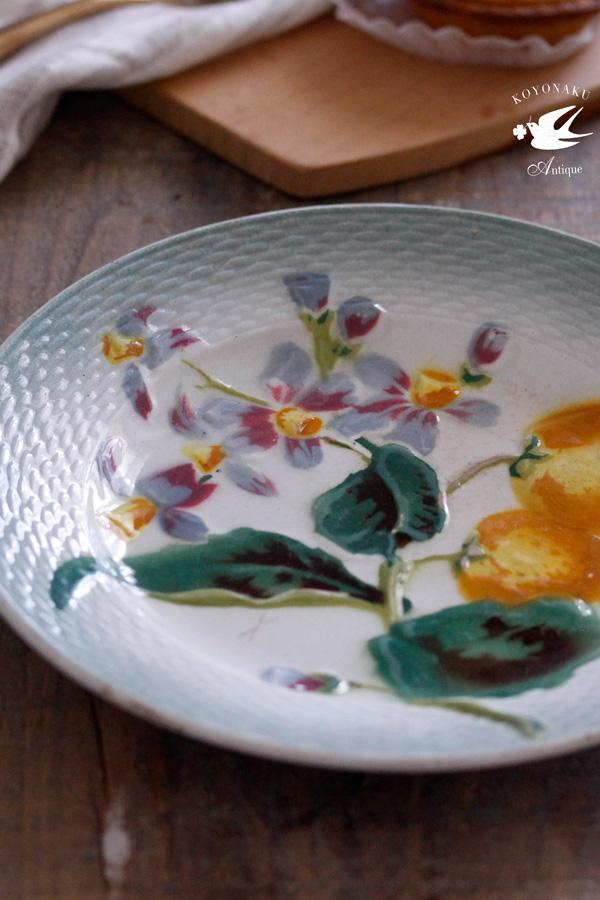 アンティークバルボティーヌオレンジの花と実のプレート19.5cm 1890-1900年代頃 gc-692