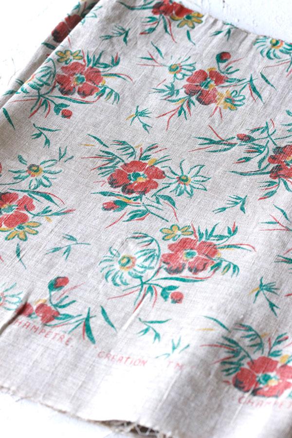 手描き風のお花が可愛いヴィンテージ麻のインテリアファブリックW44×100cm gf-597