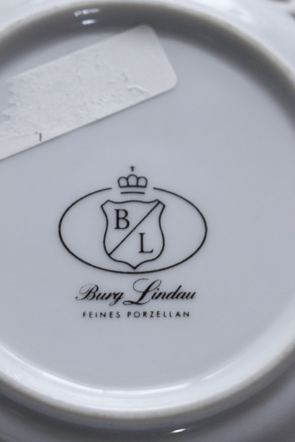 ドイツのVon Schierholzの薔薇と透かしの陶磁器&レースのプレートセットglu-004