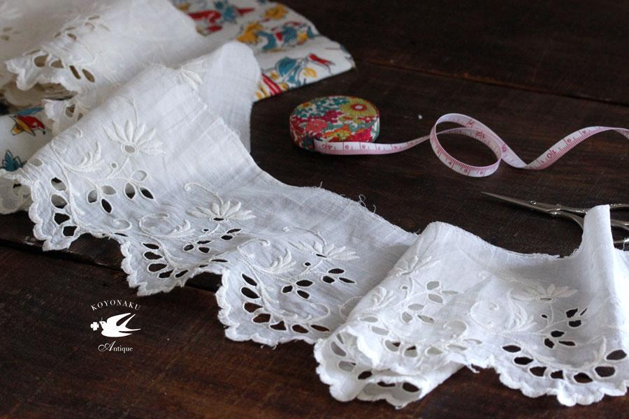 アアンティークカットワーク刺繍お花のコットントリム245×14cm gla-0870
