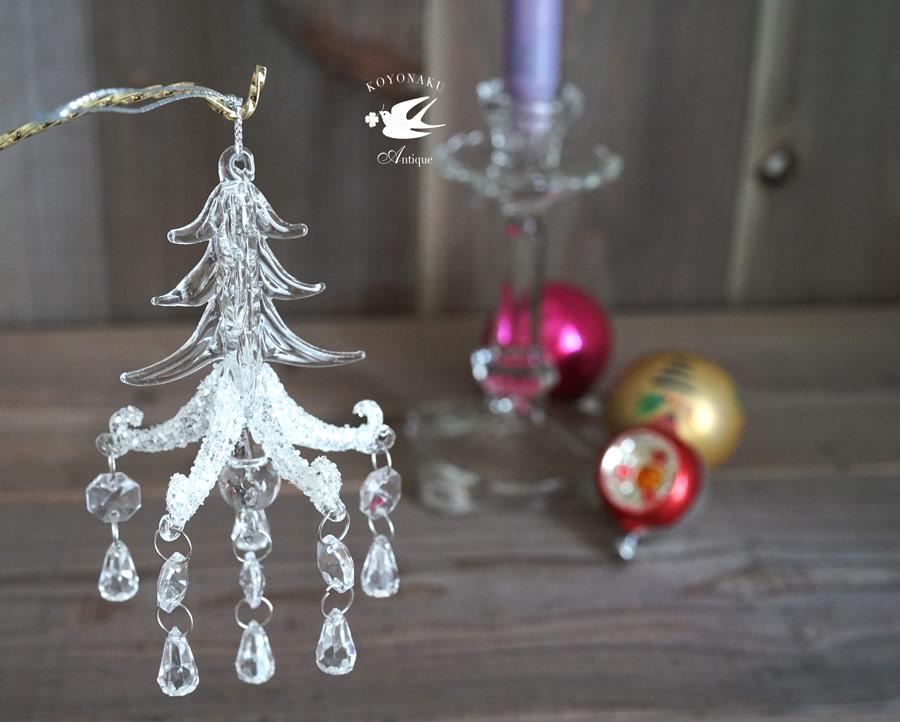 バティのクリスマスガラスオーナメント モミの木のシャンデリアH14.5cm gx-3401
