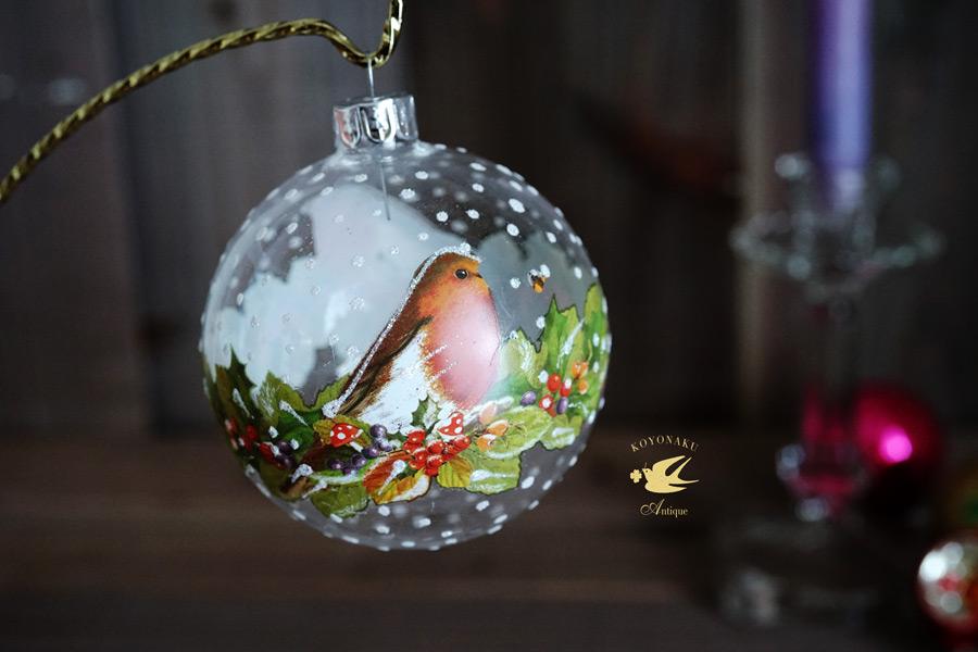 リバティのクリスマスガラスオーナメントクリアガラスロビン W8cm gx-351