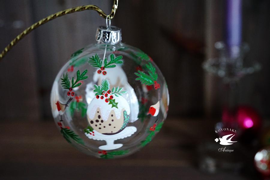 リバティのクリスマスガラスオーナメントクリアプラムプディング W8cm gx-352