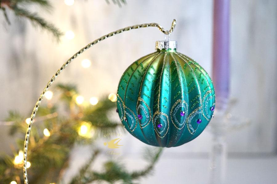 リバティのクリスマスガラスオーナメントキラキラピーコック W8cm gx-353