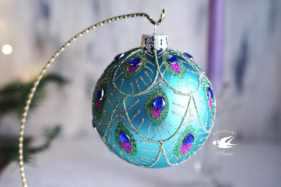 リバティのクリスマスガラスオーナメント大ピーコックフェザー W10cm gx-354