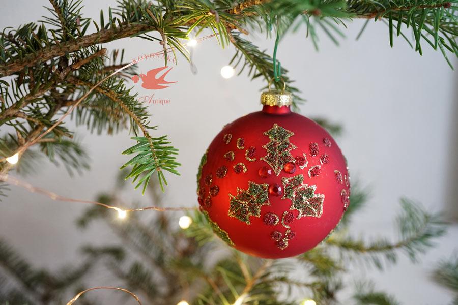 リバティのクリスマスガラスオーナメント柊 W8cm gx-356
