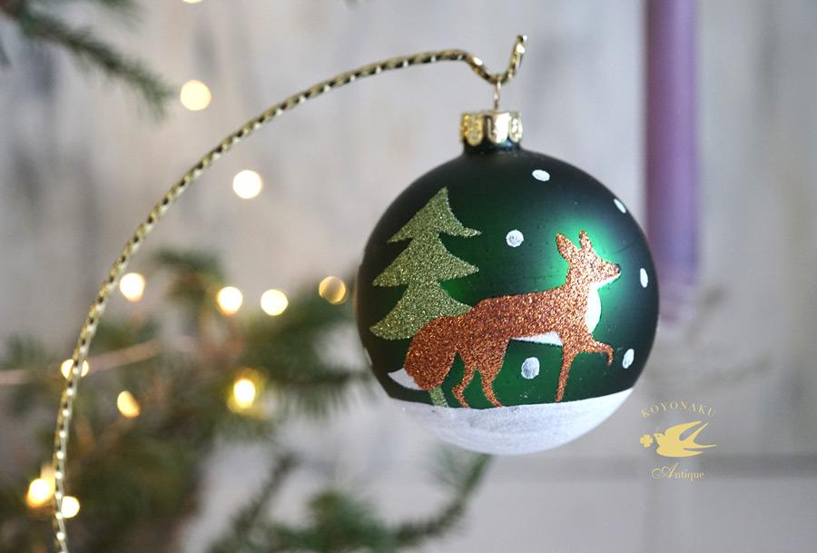 リバティのクリスマスガラスオーナメンきらきらなフォックスW8cm gx-358