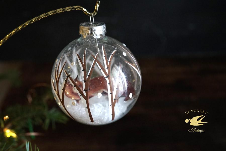リバティのクリスマスガラスオーナメンきらきらフォックス W8cm gx-362