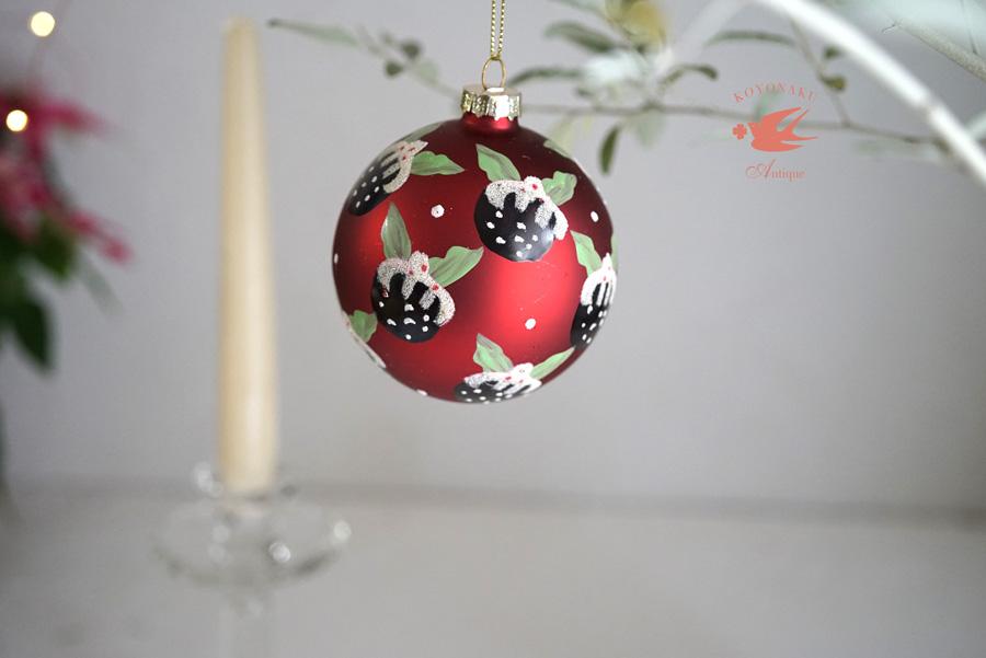 リバティガラスオーナメント赤いクリスマスプディング W8cmgx-392