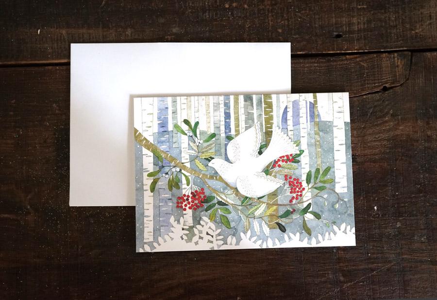 リバティの金箔入りクリスマスカード2枚セット鳩と柊 12.5×17.8cm gx-419
