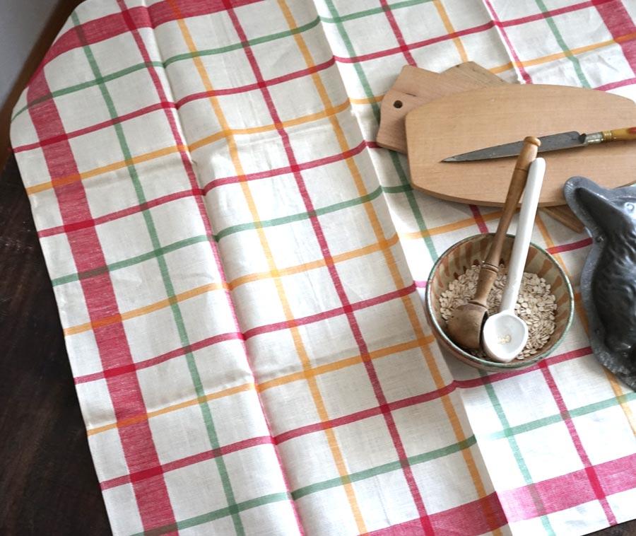 ヴィンテージのフランスのお洒落なチェックキッチンリネン71×69cm gli-0280