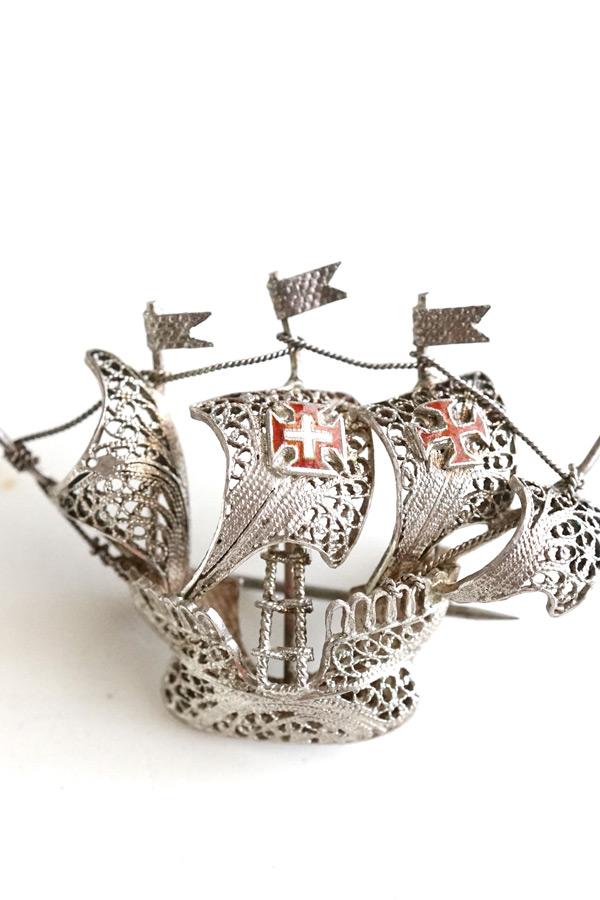 ヴィンテージ極細 シルバーワイヤーの帆船ブローチ 4×3cm ga-777