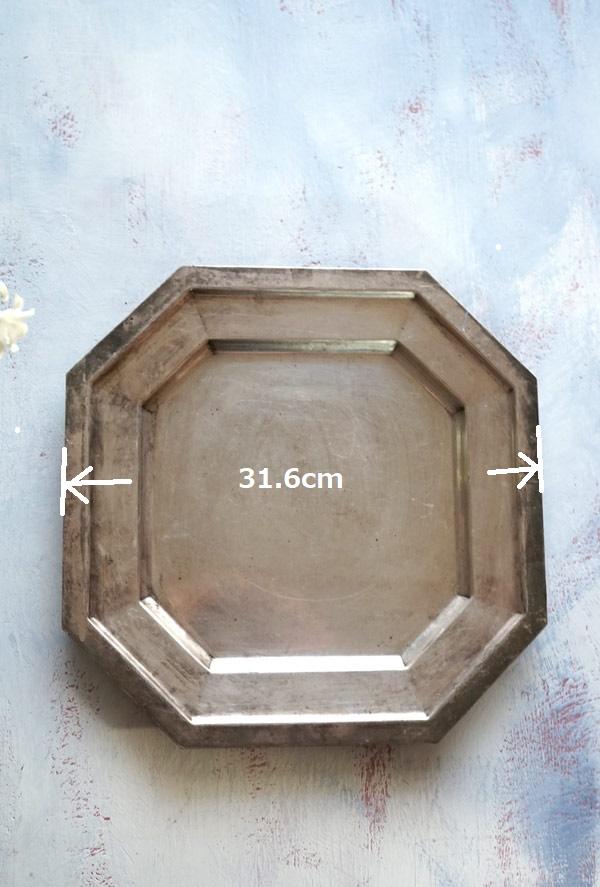 アールデコのリムが素敵なシルバープレートトレーW31.6cm gc-759
