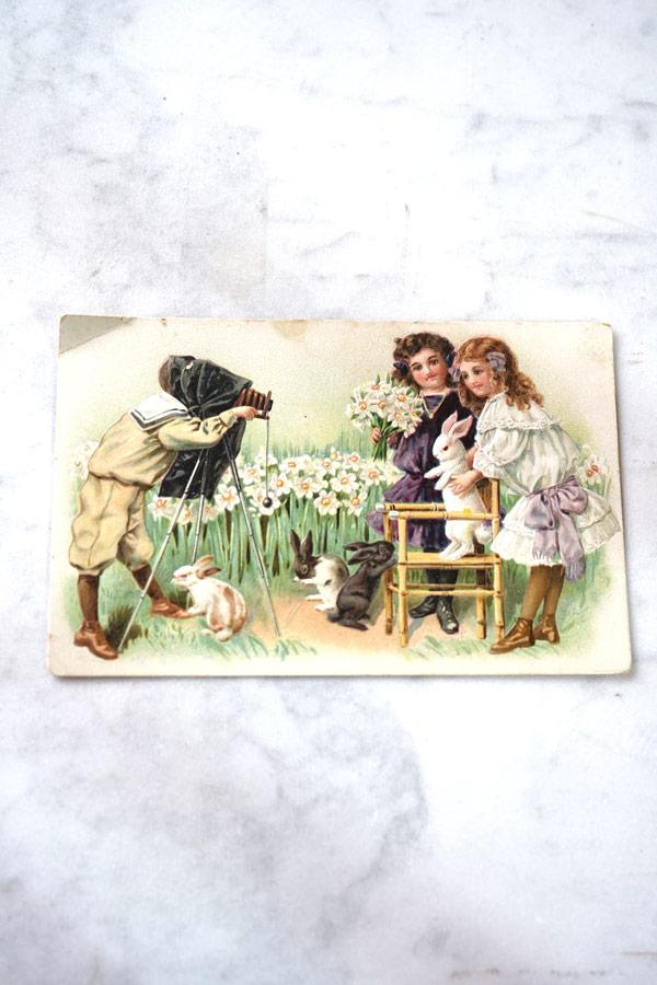 アンティークポストカード美少女とうさぎ gh-204