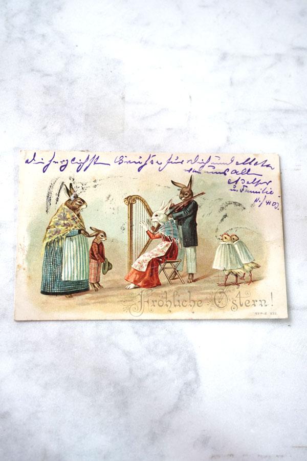 アンティークポストカードうさぎのファミリーデュオgh-207