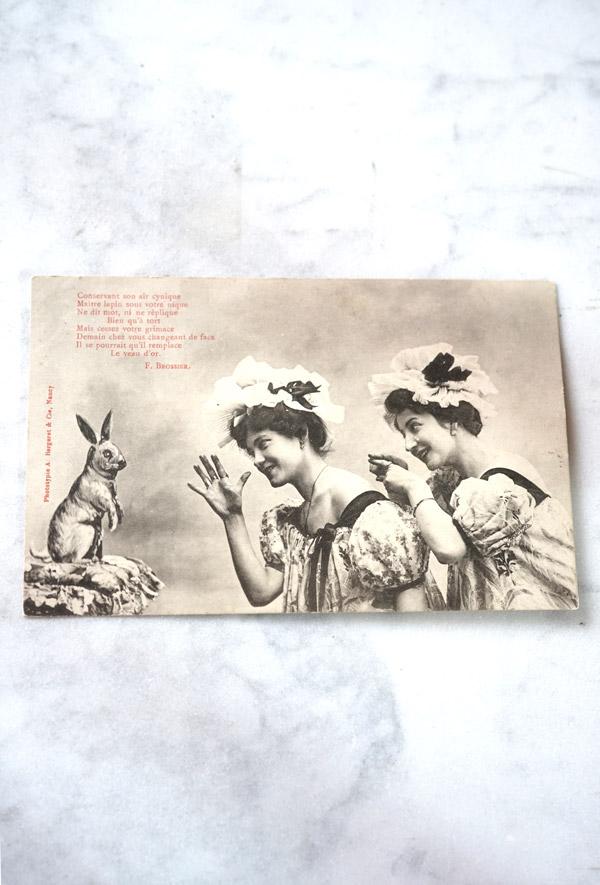アンティークポストカード二人の少女とうさぎ gh-211
