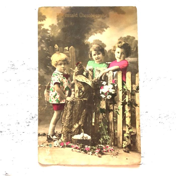 アンティークイースターポストカード3人の子供とイースターエッグ gh-221