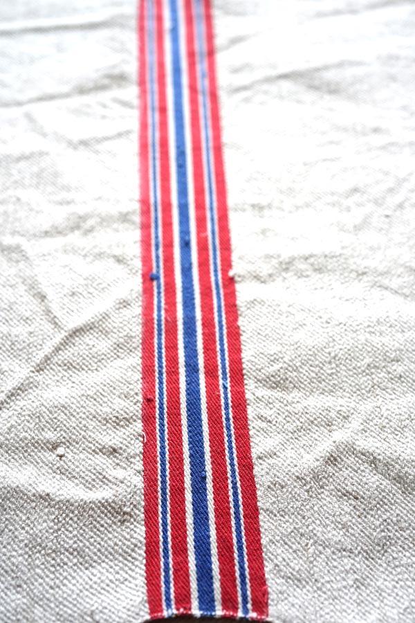 ハンガリーアンティークホームスパンリネン│赤とブルーのライン45×100cm gli-0291