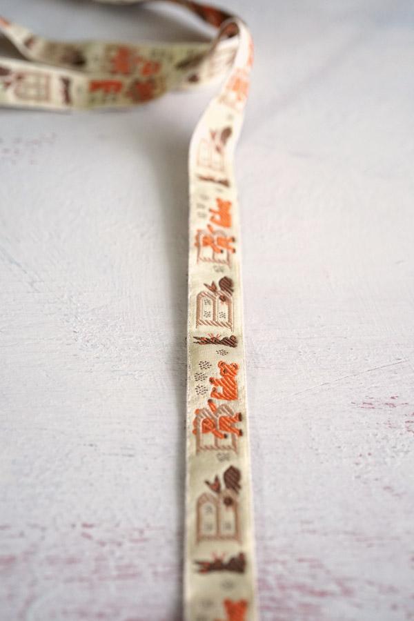 ヴィンテージフランスのテディーとバニーのリボンテープ・クリーム色 W1.8×100cm gs-1233