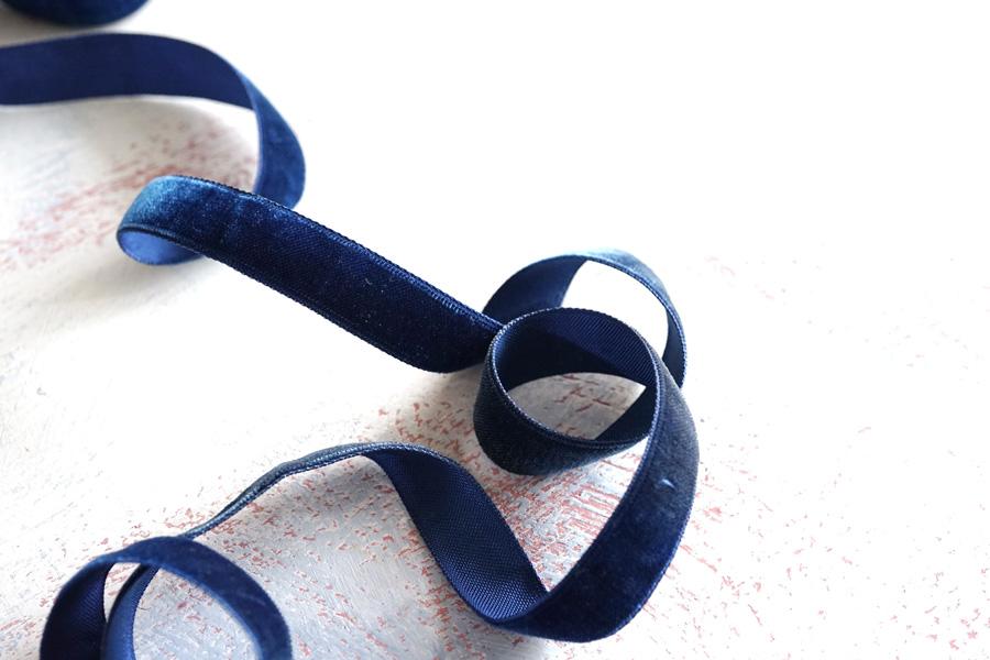 ヴィンテージベルベットリボン ブルー1.6×100cm gs-1244