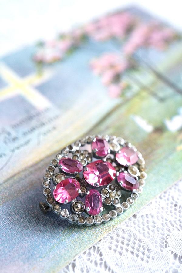 アンティークラインストーンにピンクのカットガラスのオーバルブローチ3.4×2.5cm ga-791