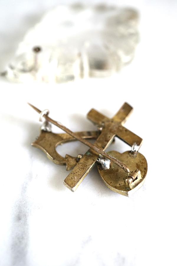 アンティークガーネットブローチ十字架&錨&ハート 1870-1900年代頃 ga-800