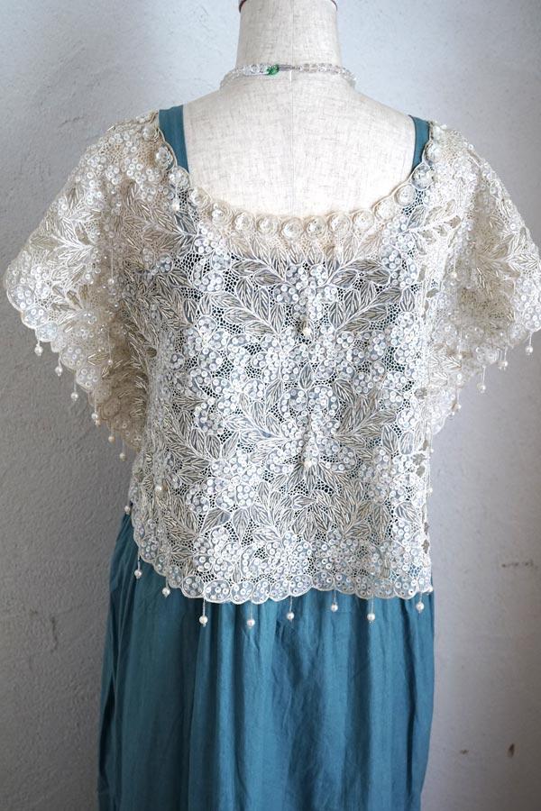 ヴィンテージオートクチュールビーズ刺繍のケープ 1960-80年代頃 gd-184