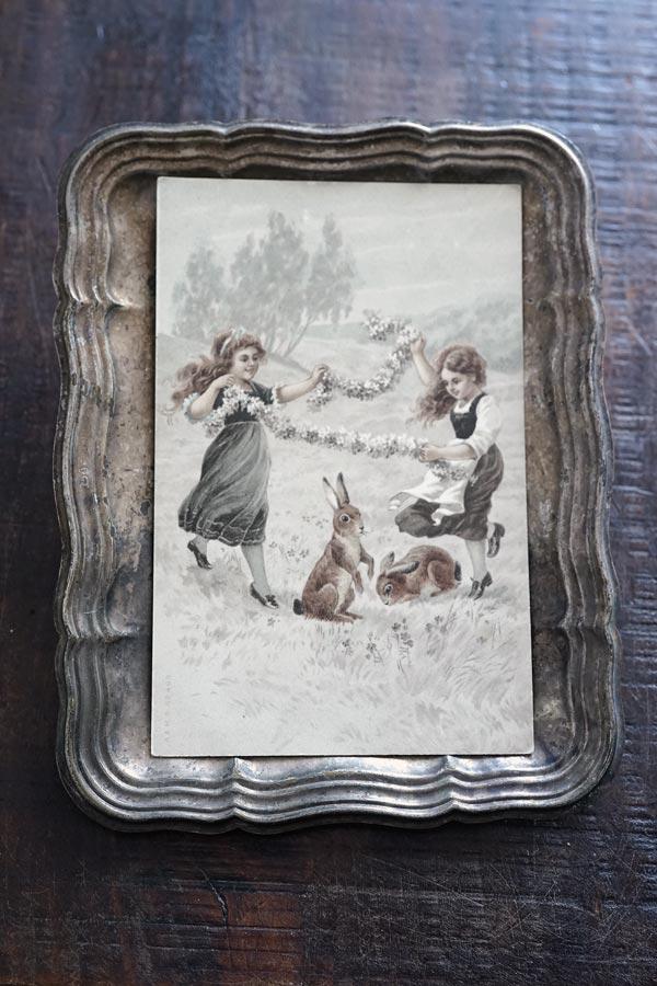 アンティークイースターラビットと少女のポストカード 1907年 gh-229