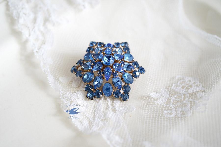 ヴィンテ—ジブルーのガラスストーンブローチW4.5cm 1950年代 ga-801