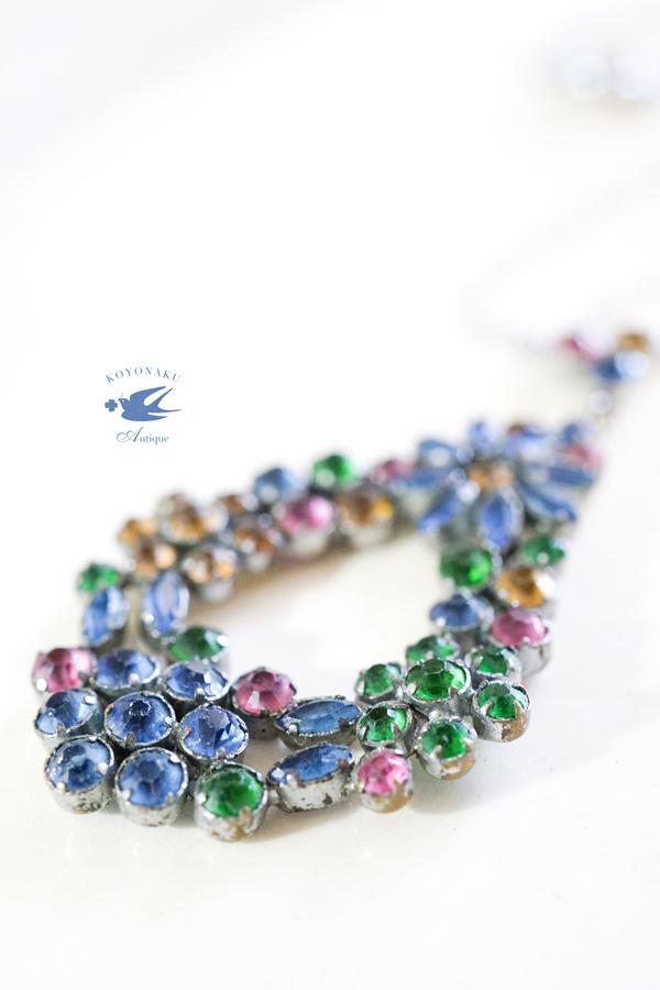 アンティークガラスのお花のネックレス ga-806