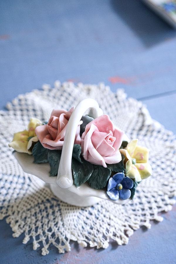 ドイツの可愛い陶花のフラワーバスケット 1950年代頃 gc-763