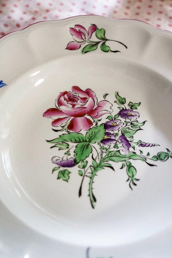 ヴィンテ—ジK&G Lunevilleの薔薇のディーププレート 25×4cm gc-781