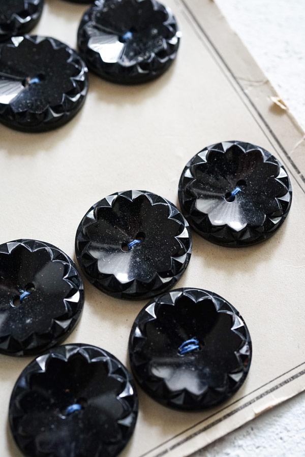 アンティークブラックガラスボタン25mm gs-1279