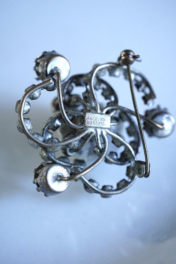 ヴィンテージペーストガラスのブローチ4.3cm ga-821