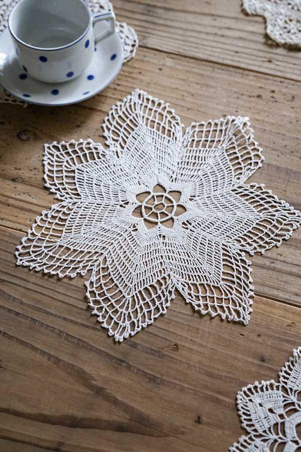 アンティークハンガリー超極細糸の7角形ドイリー 20cm gla-1068