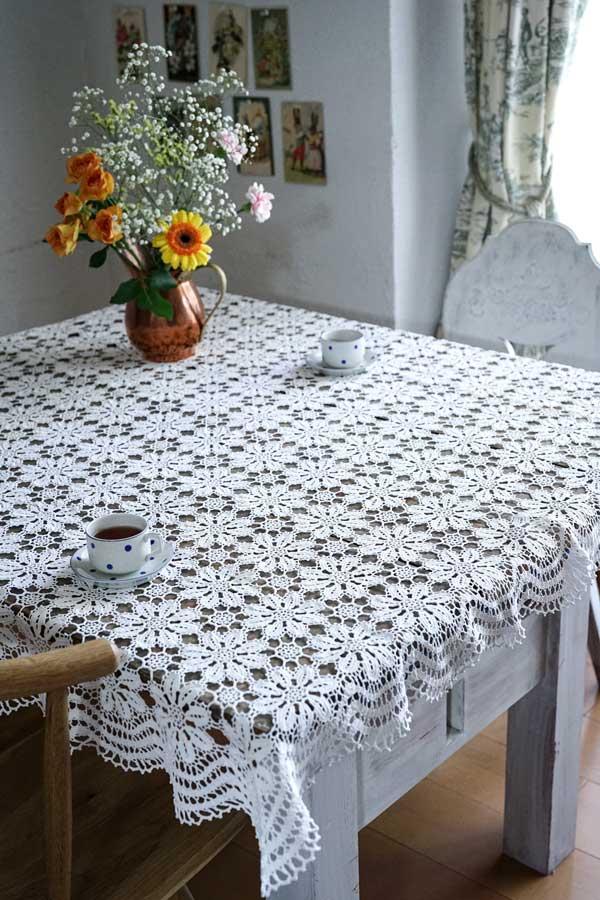 アンティークハンガリークロッシュレースのテーブルクロス116×112cm gla-1093