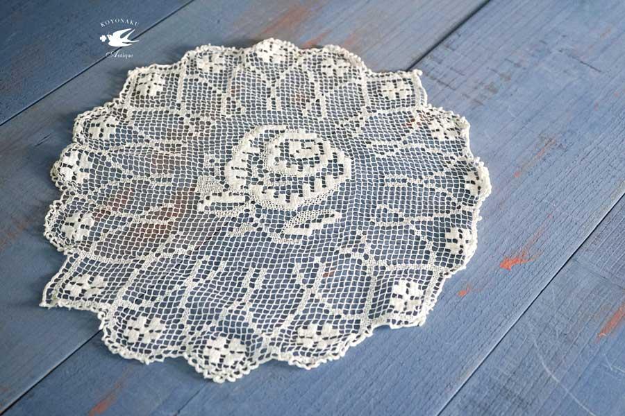 アンティーク薔薇のフィレレースのドイリー直径30cm gla-1104