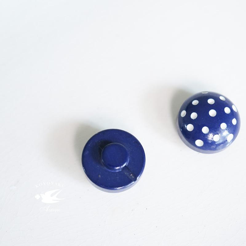 ヴィンテージネイビーのドットボタン12mm gs-1291