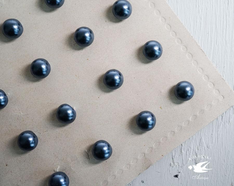 ブラックパールのガラスボタン4個セット 10mm gs-1294
