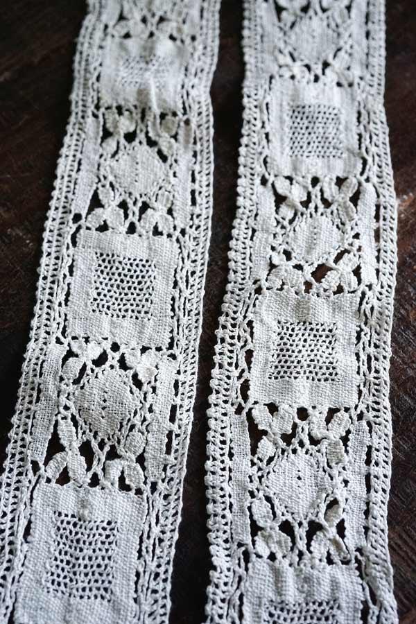 手編みのアンティークレ—ストリム7×260cm gla-1121