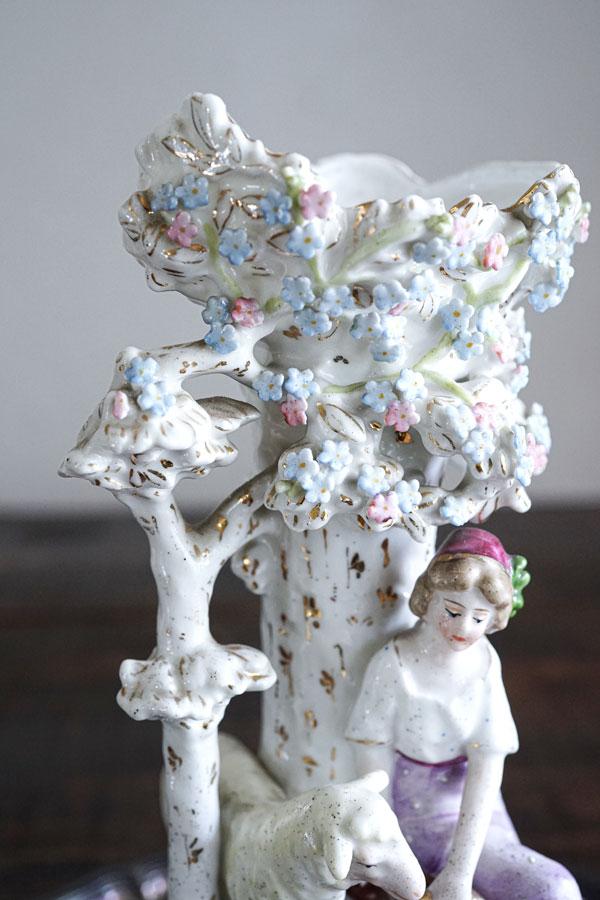 アンティーク少女と羊の美しいポーセリンフラワーベースH23.5cm gc-789