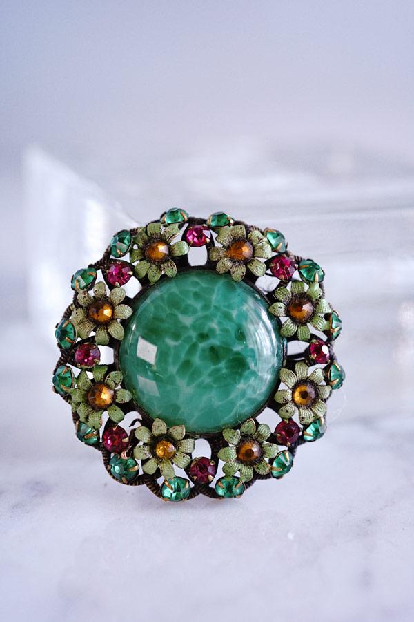 ヴィンテージグリーンガラスのお花ブローチW4.4cm1940年代 ga-871
