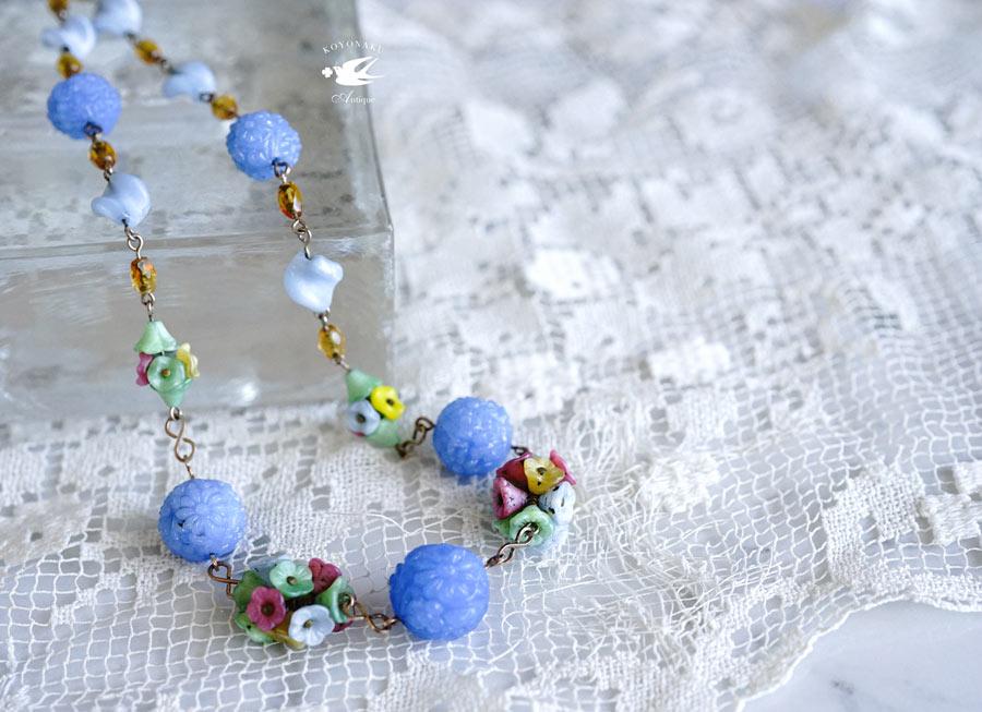 アンティークブルーガラス&フラワーのネックレス 43cm ga-881