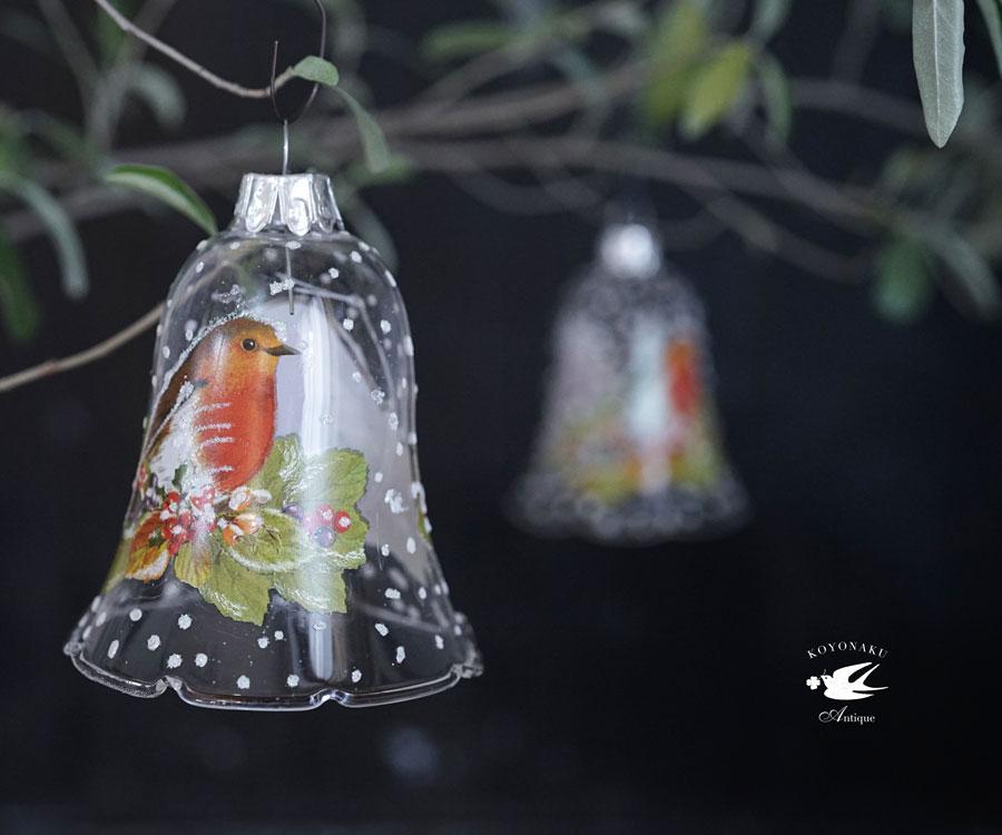 リバティガラスオーナメントクリスマスの鐘 Robinコマドリ H8cm gx-440