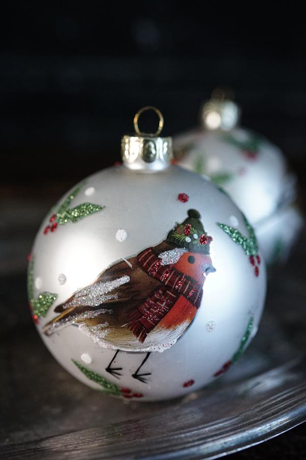 リバティクリスマスオーナメントボールRobin holly glass コマドリ W8cm gx-445