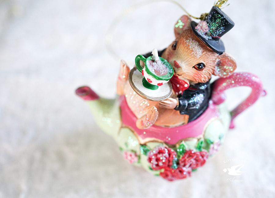 不思議の国のアリスの眠りネズミのクリスマスデコレーションH8cm gx-451