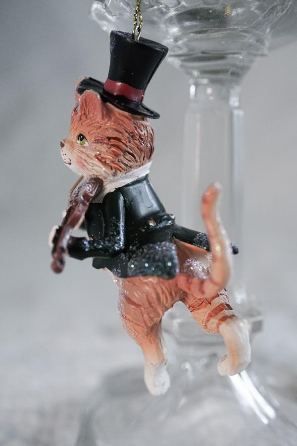 イギリスのヴァイオリン弾きのネコのクリスマスデコレーションH10.5cm gx-452