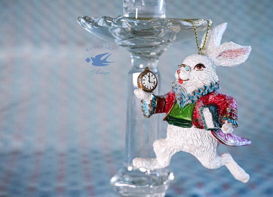 不思議の国のアリスの白うさぎのクリスマスデコレーションH9.5cm gx-453