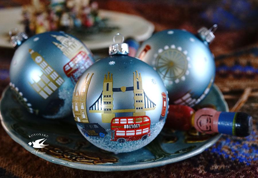 リバティクリスマスオーナメントボールLondonのクリスマス W8cm gx-458