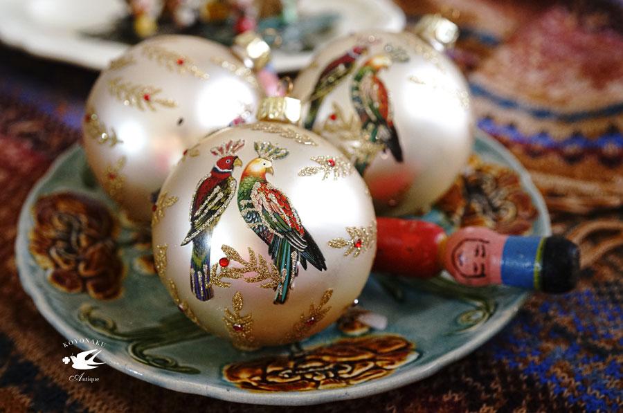 リバティクリスマスオーナメントボール番のオウム W8cmgx-459